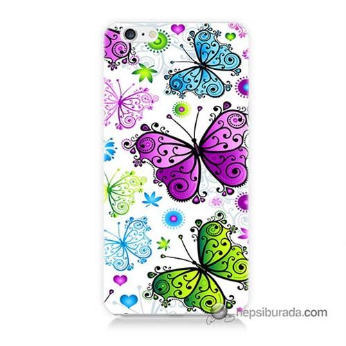 Teknomeg İphone 6 Kapak Kılıf Renkli Kelebekler Baskılı Silikon