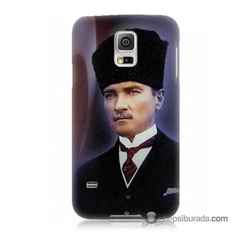 Teknomeg Samsung Galaxy S5 Kılıf Kapak Mustafa Kemal Atatürk Baskılı Silikon