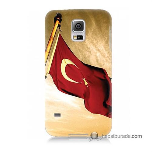 Teknomeg Samsung Galaxy S5 Kılıf Kapak Türk Bayrağı Baskılı Silikon