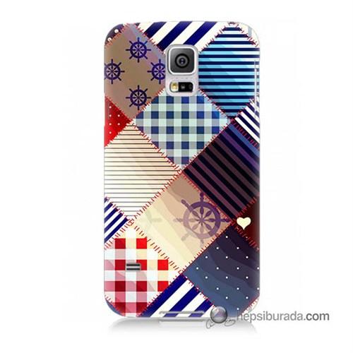 Teknomeg Samsung Galaxy S5 Mini Kapak Kılıf Patchwork Baskılı Silikon