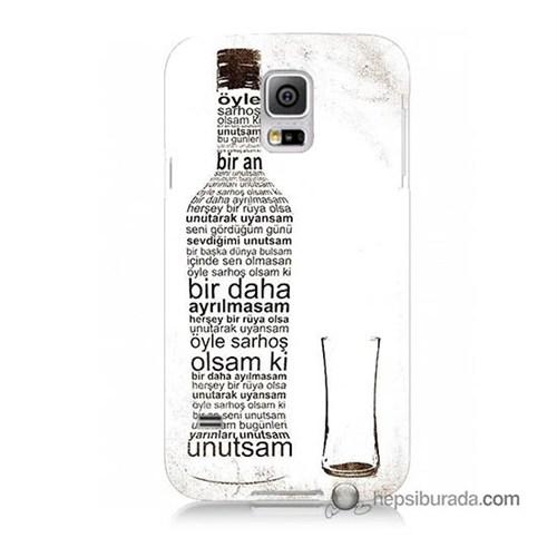 Teknomeg Samsung Galaxy S5 Mini Kapak Kılıf Rakı Şişesi Baskılı Silikon