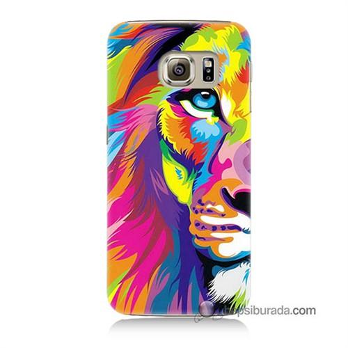 Teknomeg Samsung Galaxy S6 Kılıf Kapak Renkli Aslan Baskılı Silikon