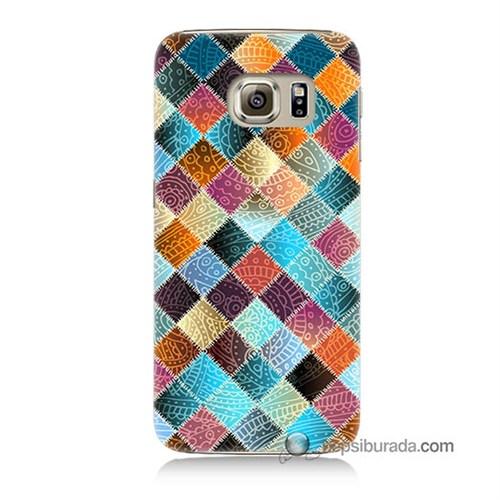 Teknomeg Samsung Galaxy S6 Kılıf Kapak Kırkyama Baskılı Silikon