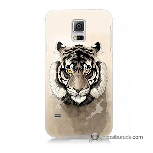 Teknomeg Samsung Galaxy S5 Kapak Kılıf Beyaz Aslan Baskılı Silikon