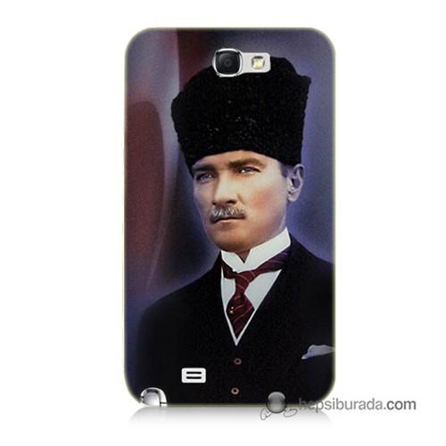 Teknomeg Samsung Galaxy Note 2 Kılıf Kapak Mustafa Kemal Atatürk Baskılı Silikon