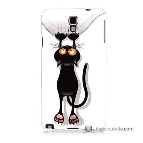 Teknomeg Samsung Galaxy Note 3 Neo Kılıf Kapak Kara Kedi Baskılı Silikon