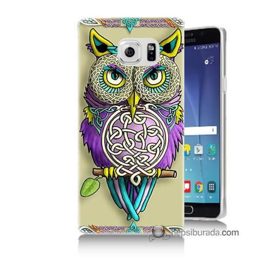 Teknomeg Samsung Galaxy Note 5 Kapak Kılıf Mor Baykuş Baskılı Silikon