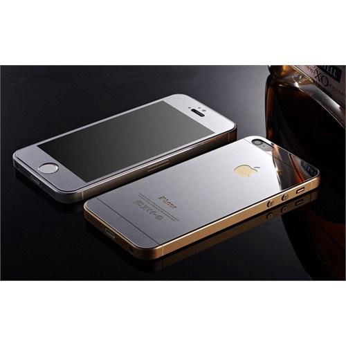 Teleplus İphone 5S Renkli Kırılmaz Cam Ön + Arka Ekran Koruyucu Gümüş