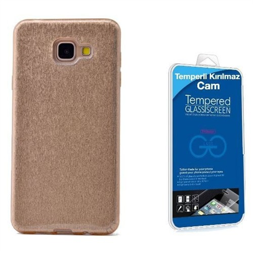 Teleplus Galaxy A7 2016 Simli Silikon Kılıf Gold + Kırılmaz Cam