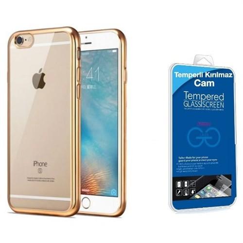 Teleplus İphone 6S Plus Lazer Silikon Kılıf Gold + Kırılmaz Cam