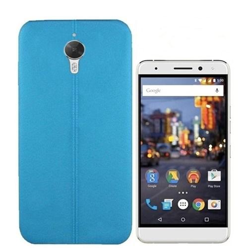 Kılıfshop General Mobile Gm5 Plus Dikiş Desenli Silikon Kılıf (Mavi) + Kırılmaz Cam Ekran Koruyucu