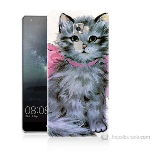 Teknomeg Huawei Ascend Mate S Papyonlu Kedi Baskılı Silikon Kılıf