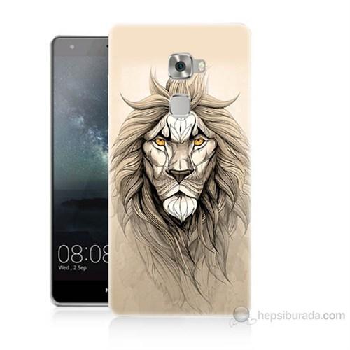 Teknomeg Huawei Ascend Mate S Beyaz Aslan Baskılı Silikon Kılıf
