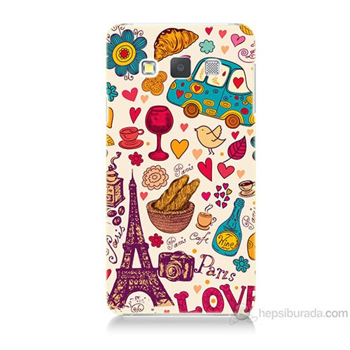 Teknomeg Samsung Galaxy A7 Paris Love Baskılı Silikon Kılıf