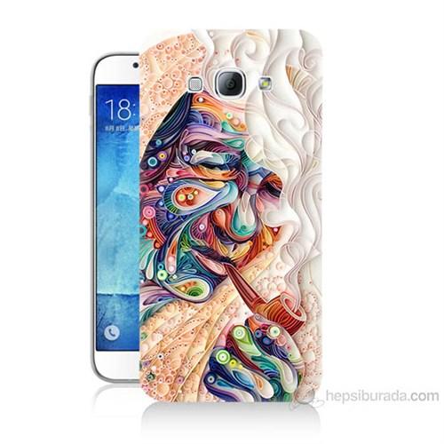 Teknomeg Samsung Galaxy A8 Kağıt Sanatı Baskılı Silikon Kılıf