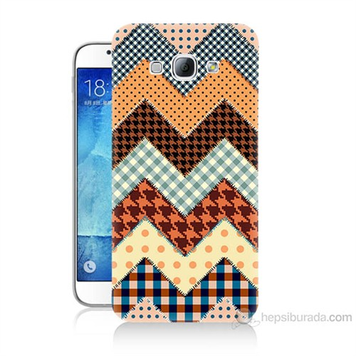 Teknomeg Samsung Galaxy A8 Patchwork Baskılı Silikon Kılıf