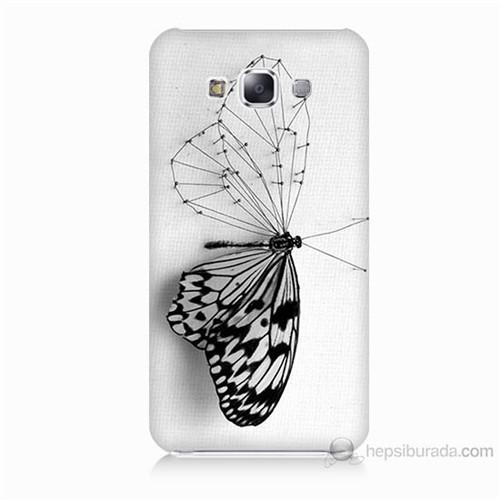 Teknomeg Samsung Galaxy E7 Kanatsız Kelebek Baskılı Silikon Kılıf