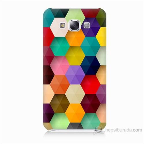 Teknomeg Samsung Galaxy E7 Renkli Petek Baskılı Silikon Kılıf