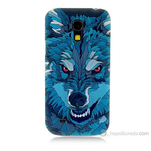 Teknomeg Samsung Galaxy S4 Mini Mavi Kurt Baskılı Silikon Kılıf