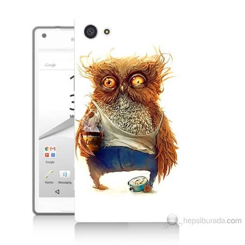 Teknomeg Sony Xperia Z5 Mini Miskin Baykuş Baskılı Silikon Kılıf
