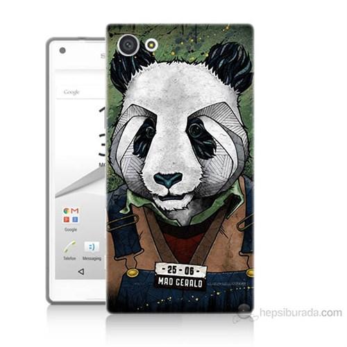 Teknomeg Sony Xperia Z5 Mini İşçi Panda Baskılı Silikon Kılıf