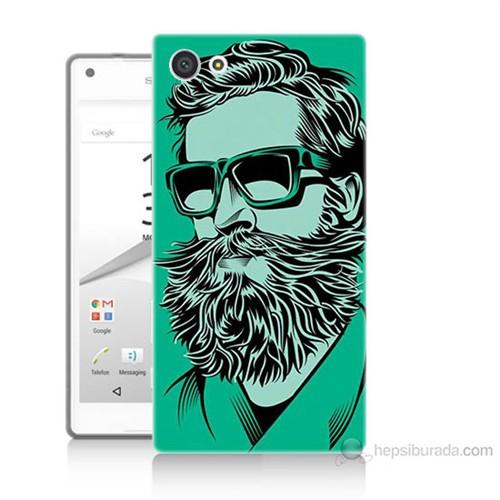 Teknomeg Sony Xperia Z5 Mini Beard Art Baskılı Silikon Kılıf