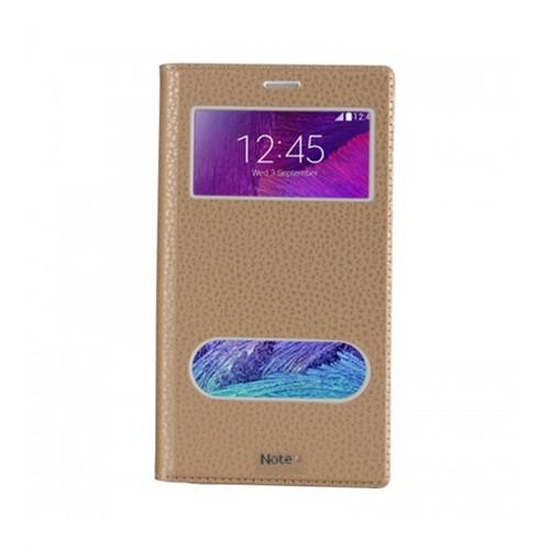 Lopard Samsung Galaxy Note 4 Pencereli Dolce Kapaklı Deri Akıllı Gold Kılıf