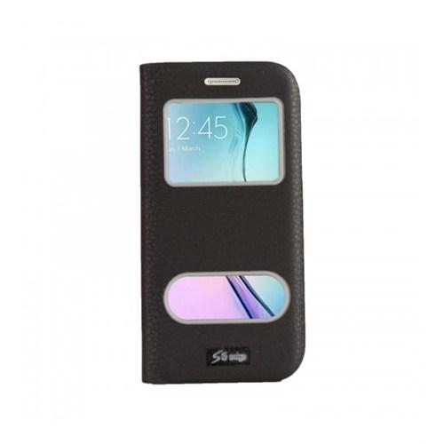 Lopard Samsung Galaxy S6 Edge Pencereli Siyah Dolce Kapaklı Deri Akıllı Kılıf