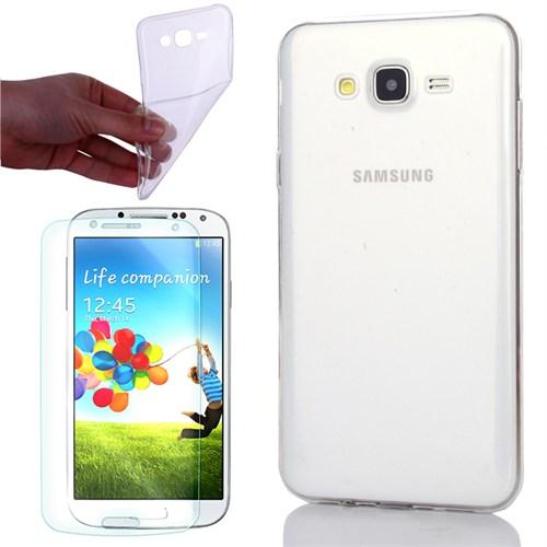 Cep Market Samsung Galaxy Core Prime Kılıf 0.2Mm Şeffaf Silikon + Kırılmaz Cam