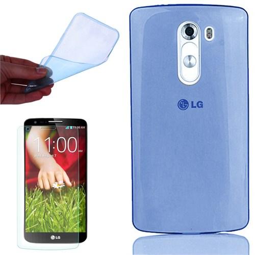 Cep Market Lg G2 Kılıf 0.2Mm Mavi Silikon + Kırılmaz Cam
