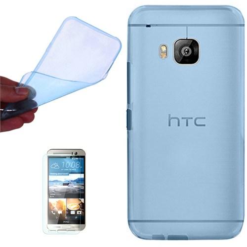 Cep Market Htc One M9 Kılıf 0.2Mm Mavi Silikon + Kırılmaz Cam