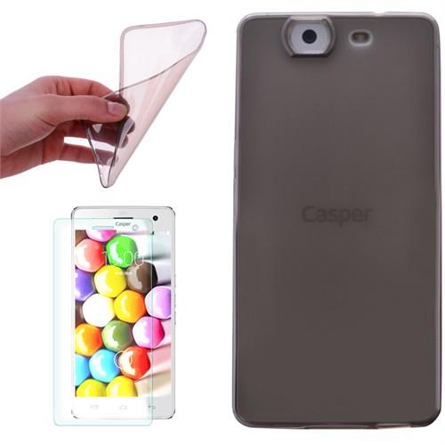 Cep Market Casper Via V5 Kılıf 0.2Mm Antrasit Silikon + Kırılmaz Cam