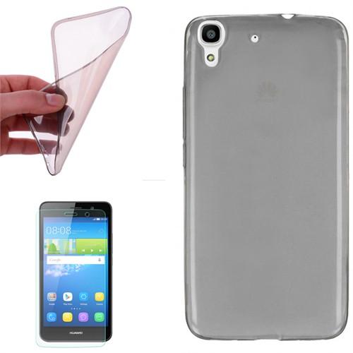 Cep Market Huawei Y6 Kılıf 0.2Mm Antrasit Silikon + Kırılmaz Cam