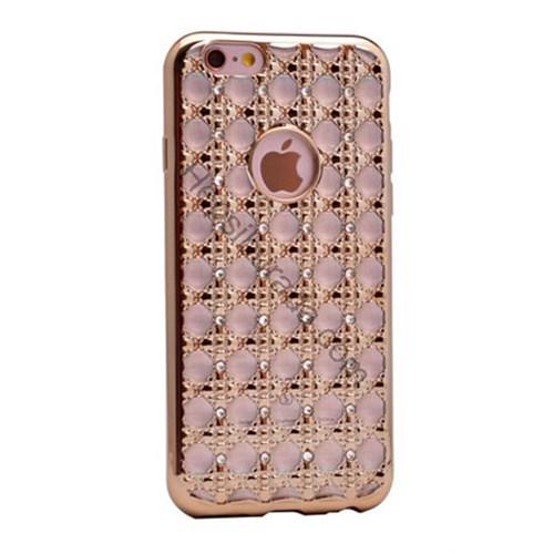 Case 4U Apple İphone 6 Plus Kare Taşlı Parlak Silikon Kılıf Altın