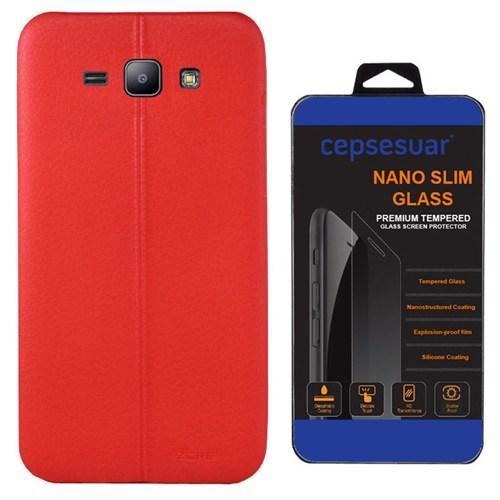 Cepsesuar Samsung Galaxy J3 Kılıf Silikon Dikişli Kırmızı + Kırılmaz Cam
