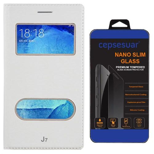 Cepsesuar Samsung Galaxy J7 Kılıf Kapaklı Dolce Beyaz + Kırılmaz Cam