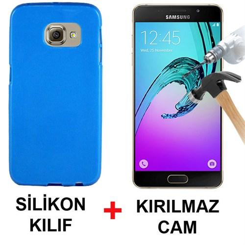 Cepsesuar Samsung Galaxy A3 2016 Kılıf Silikon Mavi + Cam