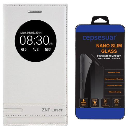 Cepsesuar Asus Zenfone 2 Laser Ze500kl 5 İnç Kılıf Elite Kapaklı Beyaz + Kırılmaz Cam