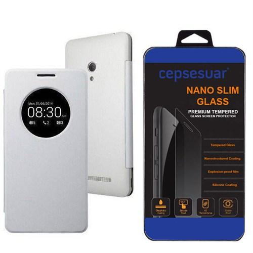 Cepsesuar Asus Zenfone 5 Kılıf Flip Cover Beyaz + Kırılmaz Cam