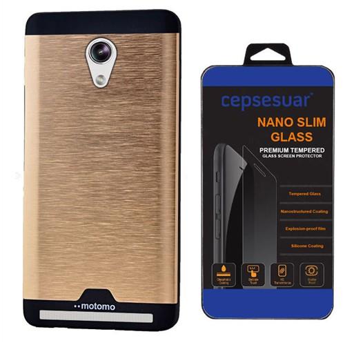 Cepsesuar Asus Zenfone 5 Kılıf Motomo Gold + Kırılmaz Cam