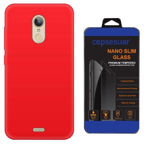 Cepsesuar Türk Telekom Tt175 Kılıf Silikon Kırmızı + Kırılmaz Cam