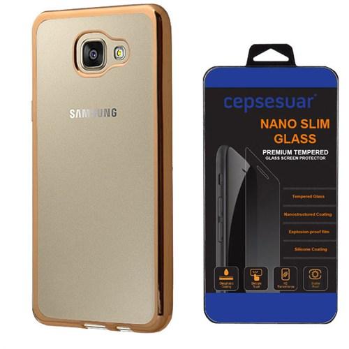 Cepsesuar Samsung Galaxy A9 2016 Kılıf Silikon Lazer Gold + Kırılmaz Cam