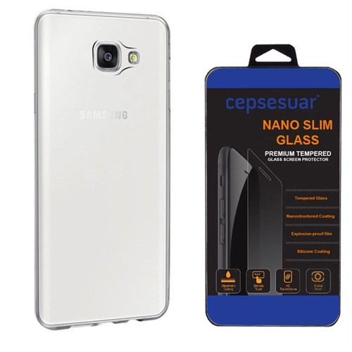 Cepsesuar Samsung Galaxy A9 2016 Kılıf Silikon 0.2 Mm Şeffaf + Kırılmaz Cam
