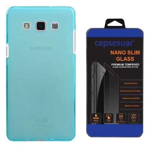 Cepsesuar Samsung Galaxy E7 Kılıf Silikon 0.2 Mm Mavi + Kırılmaz Cam