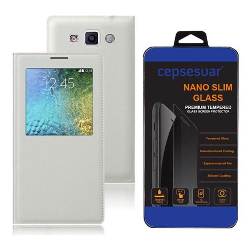 Cepsesuar Samsung Galaxy E7 Kılıf Flip Cover Beyaz + Kırılmaz Cam