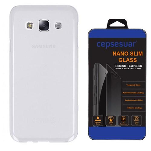 Cepsesuar Samsung Galaxy E7 Kılıf Silikon Şeffaf + Cam