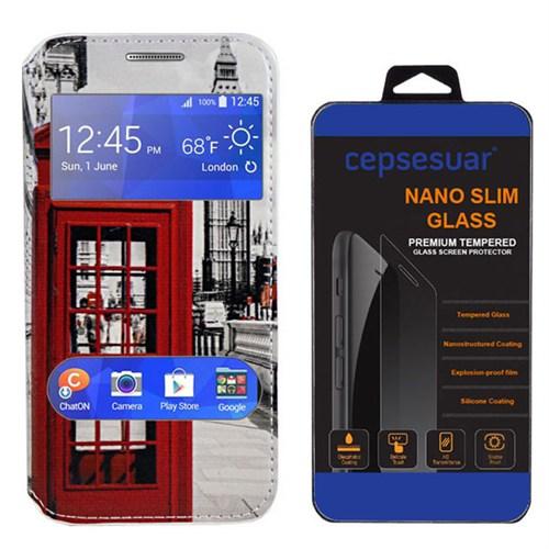 Cepsesuar Samsung Galaxy J2 Kılıf Pencereli Standlı Telefon + Kırılmaz Cam