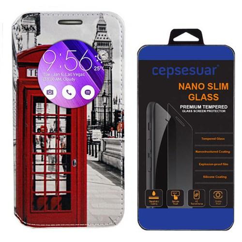 Cepsesuar Asus Zenfone 2 Laser Ze500kl 5 İnç Kılıf Standlı Telefon + Kırılmaz Cam