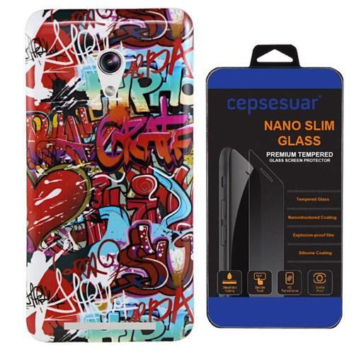 Cepsesuar Asus Zenfone 6 Kılıf Silikon Resimli Grafiti + Kırılmaz Cam