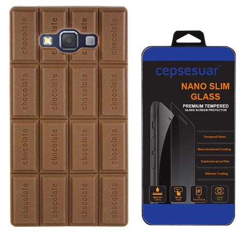Cepsesuar Samsung Galaxy E7 Kılıf Silikon Çikolata + Kırılmaz Cam